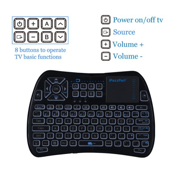 61iPazzPort mini wireless keyboard with touchpad and infrared buttons