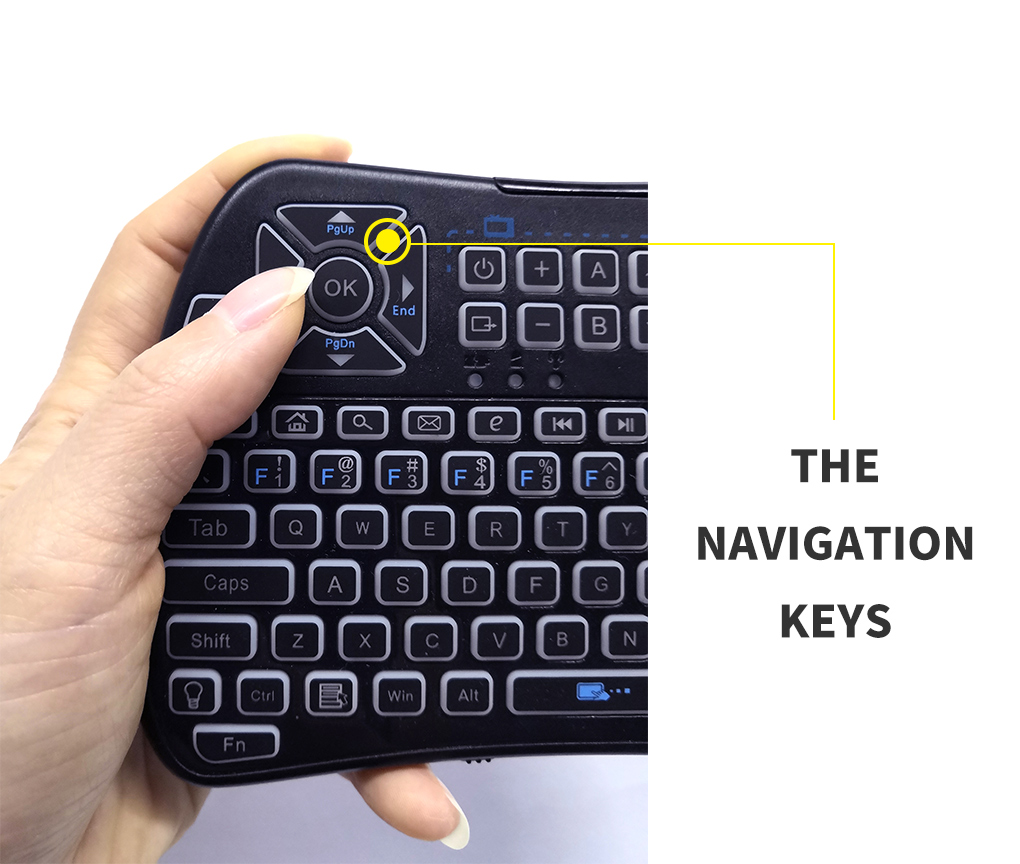 USB keyboard with touchpad and IR buttons