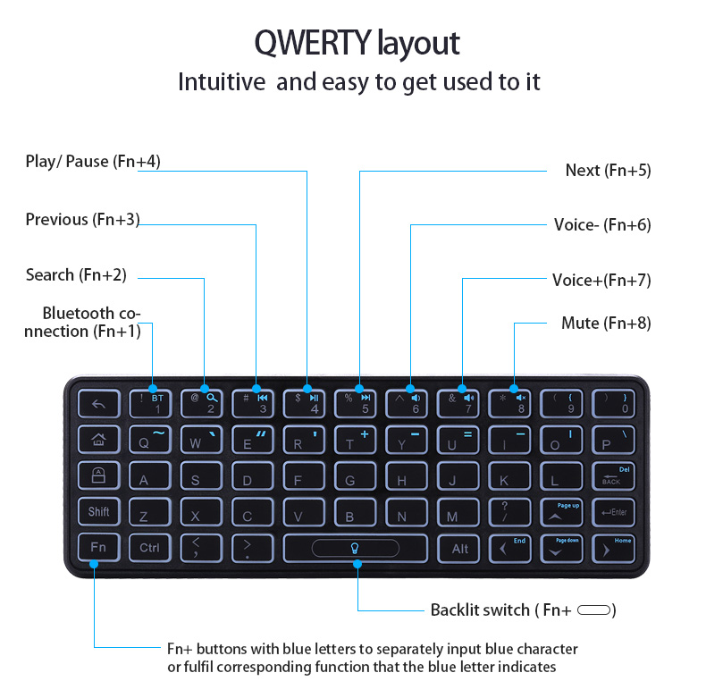 KP-810-73B mini bluetooth keyboard for xiaomi box 3