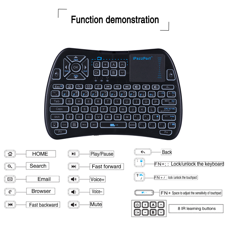 mini touchpad keyboard with infrared learning buttons