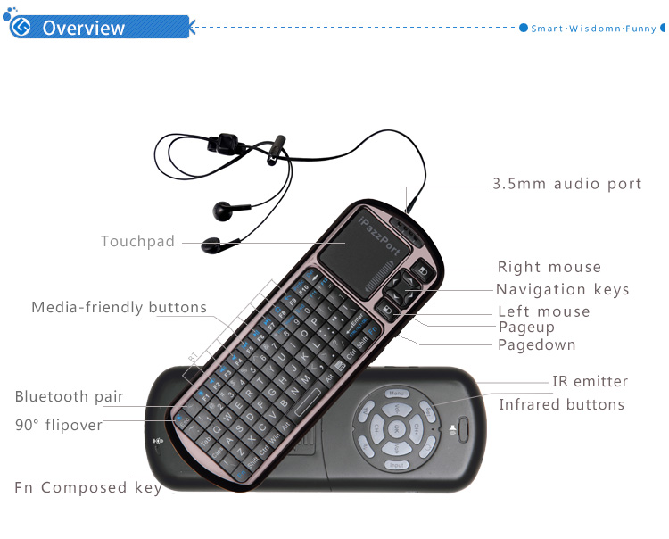 bluetooth air mouse ir keyboard for firestick