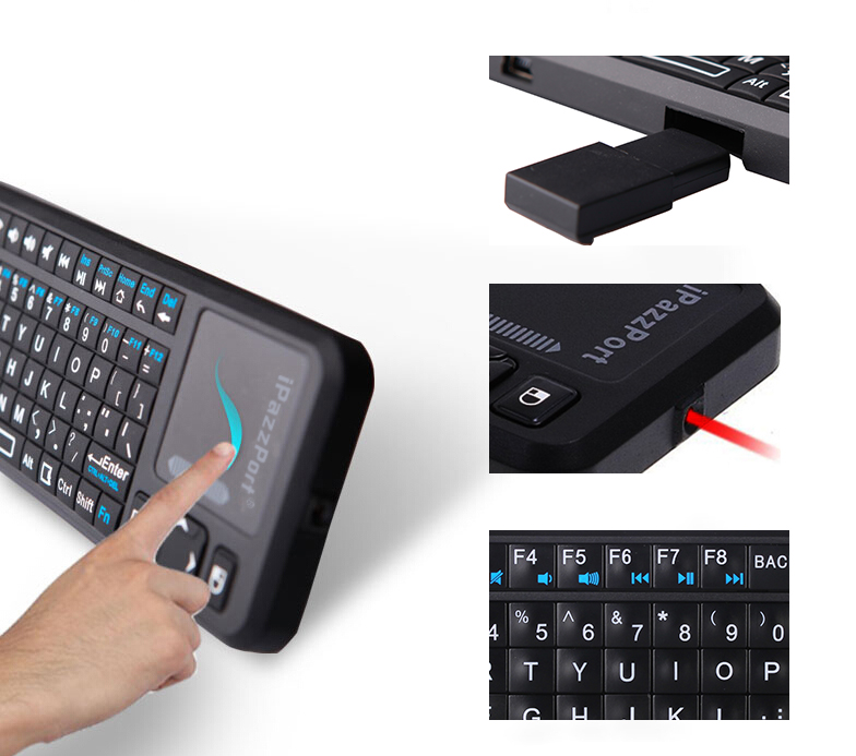 usb keyboard with touchpad and laser pointer
